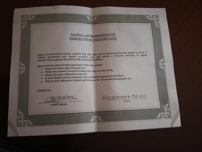 Il certificato di ispezione di Agena Optics