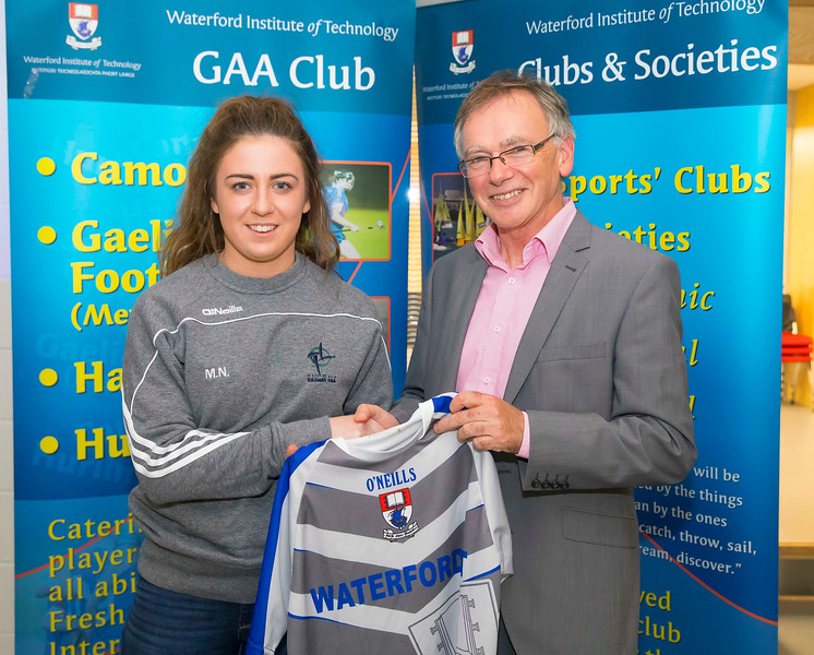 WIT holds event to honour 2016 All Ireland medal winning students. Pictured is Michaela Nolan of the Kildare Ladies Football Team and Prof. Willie Donnelly, President of WIT. Picture: Patrick Browne  Waterford Institute of Technology's presence and influence across Gaelic Games at a national level in 2016 has been very noticeable. In total there are 32 past and present WIT students on the respective playing panels that won All Ireland medals in 2016 and a further 4 members on the backroom management teams.   To honour this huge achievement, WIT GAA Club is paying tribute to these 36 past members on securing these prestigious national titles on Monday 3 October, 6.30pm at the WIT Arena.   Along with the players, the prestigious cups, including the All Ireland Senior Hurling Cup- Liam McCarthy, the All Ireland Senior Camogie Cup- O'Duffy, The All Ireland Minor Cup and the All Ireland Under 21 Hurling Cup- James Nowlan, will be on show on the night.