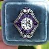 2.27ct (est) Art Deco Old European Cut Diamond with Amethyst Halo Ring 30
