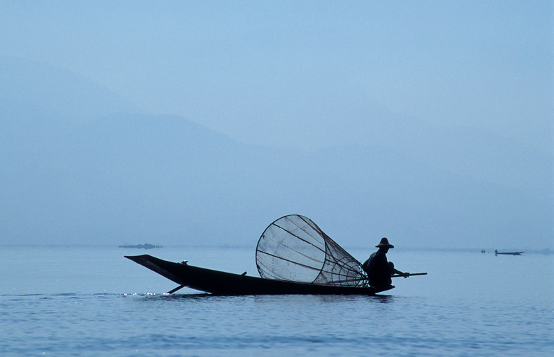 Intha Fisherman with Conical Net, Inle Lake