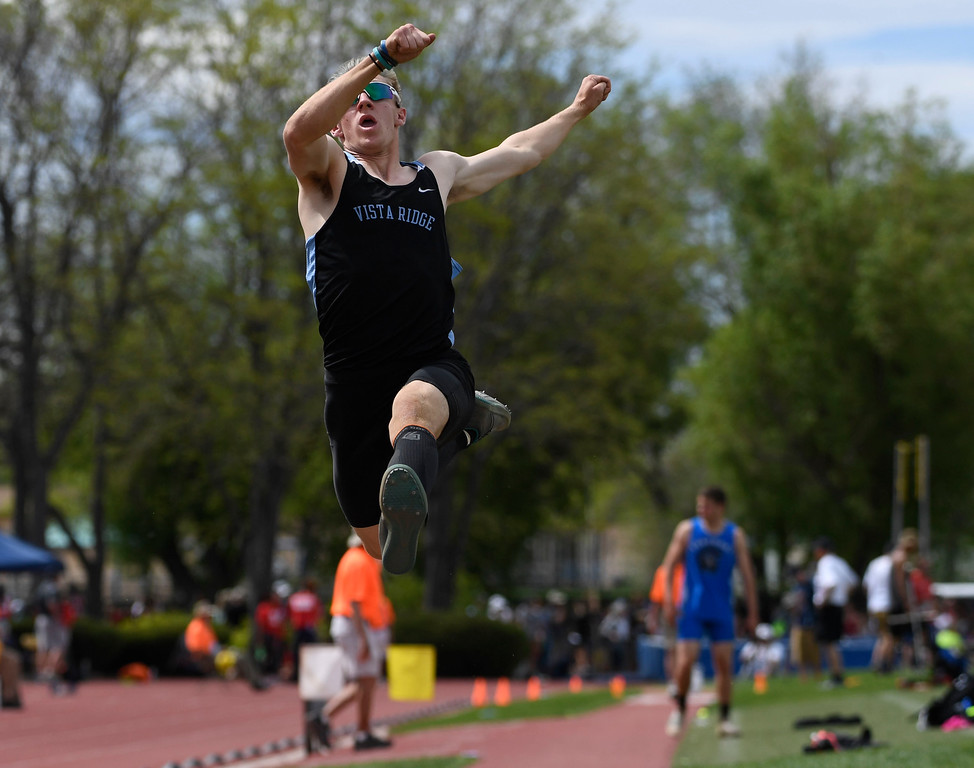 . LAKEWOOD, CO - May 20: Anthony Peters, Vista Ridge High School, gets airborne during the boys 4A long jump competition at the Colorado State High School Track and Field Championships at Jeffco Stadium May 20, 2016. (Photo by Andy Cross/The Denver Post)
