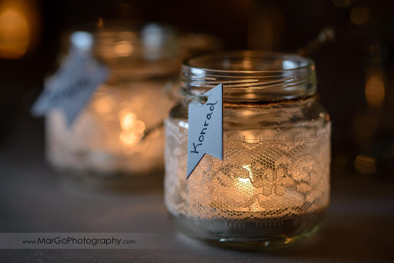 handmade wedding tag name candle holder
