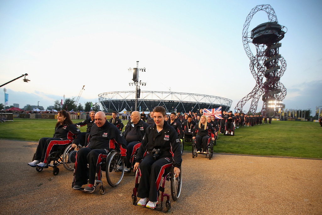 . The British Invictus Team arrive at Queen Elizabeth II Park during the Invictus Games Opening Ceremony on September 10, 2014 in London, England. (Photo by Chris Jackson/Getty Images)