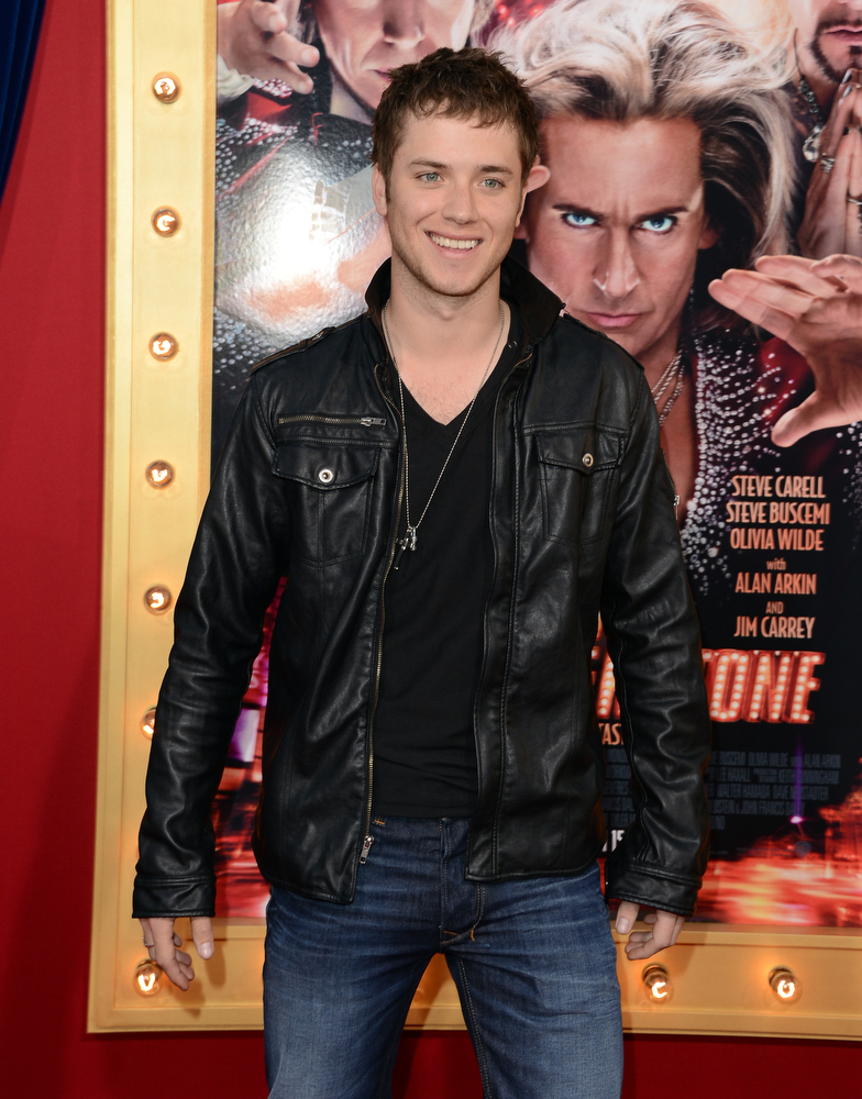 ". Actor Jeremy Sumpter attends the premiere of Warner Bros. Pictures\' ""The Incredible Burt Wonderstone\"" at TCL Chinese Theatre on March 11, 2013 in Hollywood, California.  (Photo by Jason Merritt/Getty Images)"