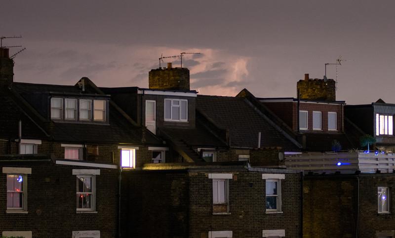 Lightning over north London