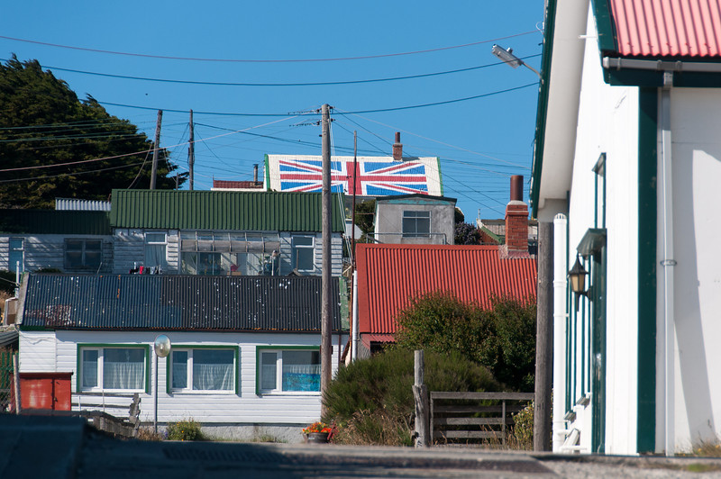 British flag design on roof - Stanley, Falkland Islands