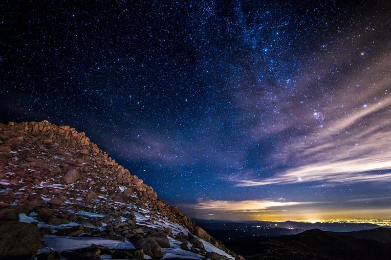 Stars over Mount Evans Peak