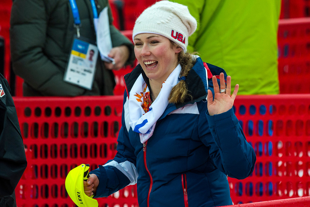 . Mikaela Shiffrin, of Eagle-Vail, Colo., waves to friends after competing in run 1 of the women\'s slalom competition at Rosa Khutor Alpine Center during the 2014 Sochi Olympics Friday February 21, 2014. Shiffrin is currently winning with a time of 52.62. (Photo by Chris Detrick/The Salt Lake Tribune)