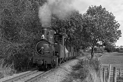 The Earl #822 and a Llanfair bound freight near Castle Caereinion BW