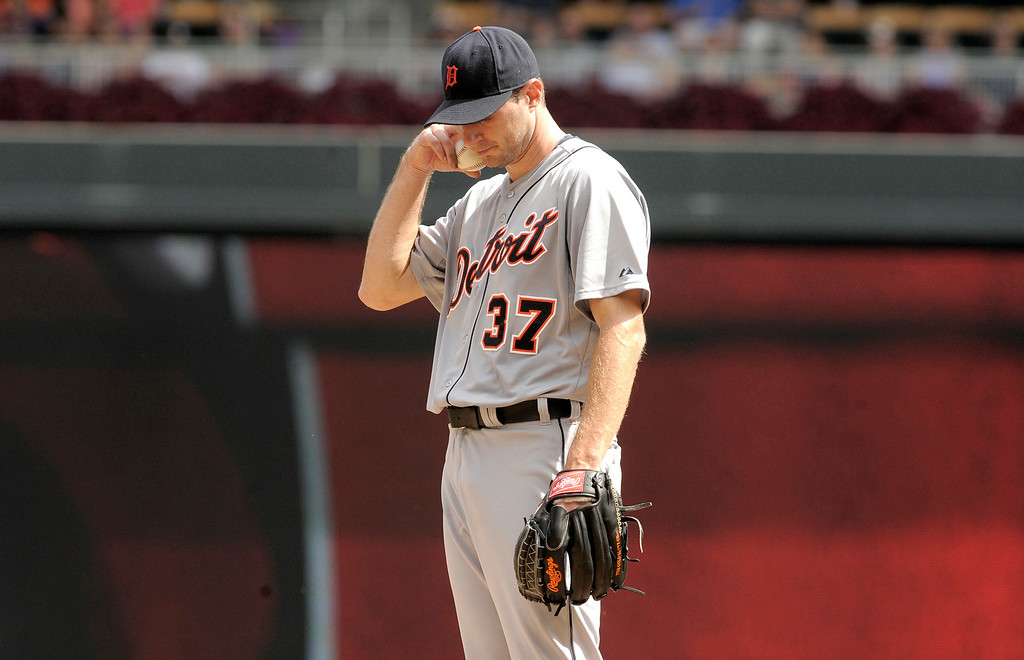 . Detroit Tigers� Max Scherzer during a baseball game against the Minnesota Twins in Minneapolis, Sunday, Aug. 24, 2014. (AP Photo/Tom Olmscheid)