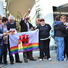 Civil Partnership supporters gathered at Parliament in support of a motion before the Gibraltar Parliament.