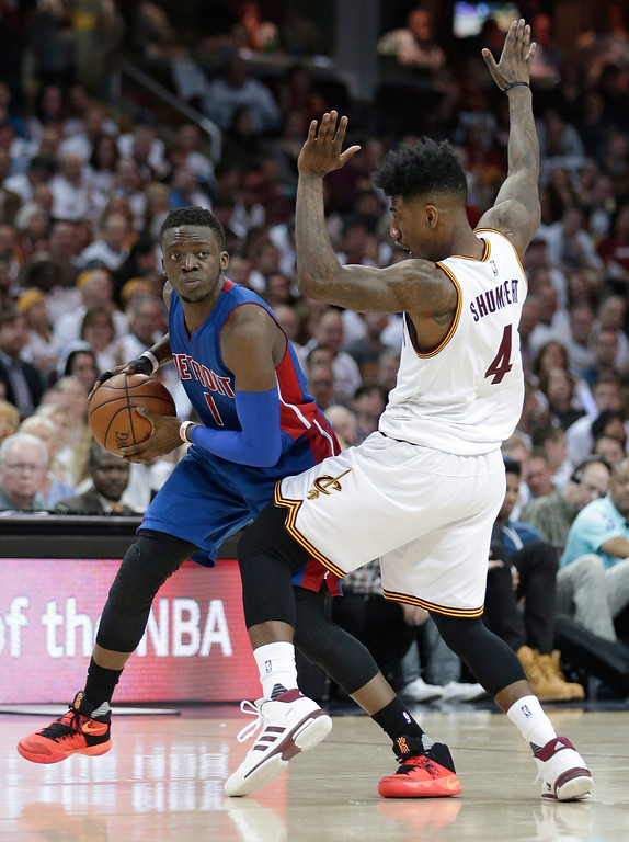 . Detroit Pistons\' Reggie Jackson (1), from Italy, drives against Cleveland Cavaliers\' Iman Shumpert (4) in the second half in Game 2 of a first-round NBA basketball playoff series, Wednesday, April 20, 2016, in Cleveland. (AP Photo/Tony Dejak)