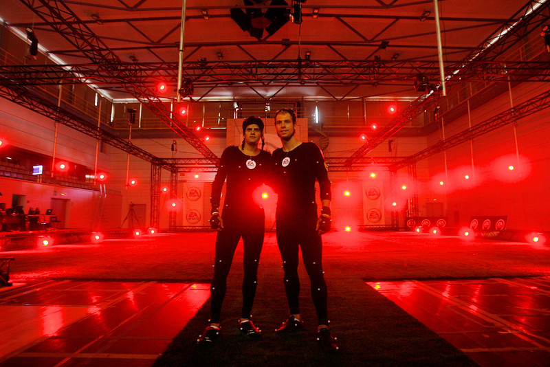 Panathinaikos's soccer player Andreas Ivanschitz and Bayer Leverkusen's Tranquillo Barnetta pose for the photographers after a motion capture filming for the new game FIFA 08 in Barcelona, May 24, 2007. REUTERS/Albert Gea (SPAIN)