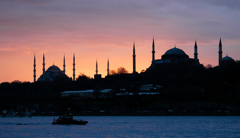 Blue Mosque and Hagia Sophia, Old City, Istanbul, Turkey
