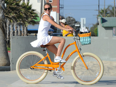 EXC: AnnaLynne McCord In Short Tennis Outfit Cycling, LA