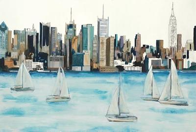 "Boat City - Hibberd, 40""x60"" on canvas."
