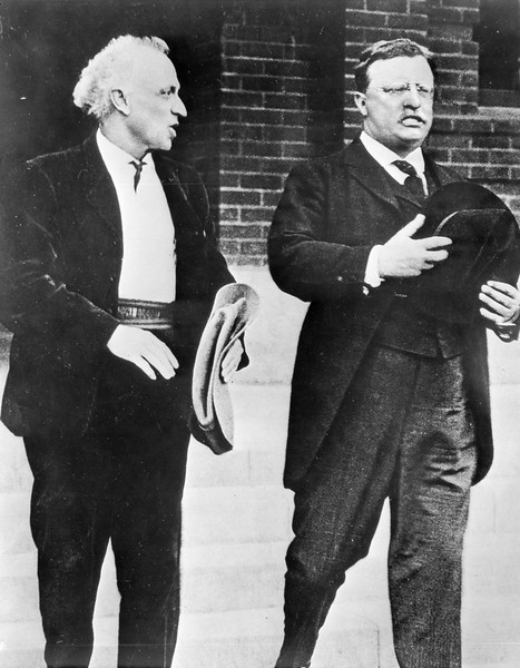 Portrait of Charles F. Lummis and President Theodore Roosevelt in Highland Park, Los Angeles, 1912