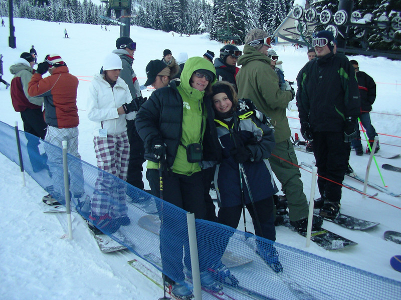 Sam and I, about to get on the Holiday chairilift, 2008,  at Snoqualmie Pass Central.
