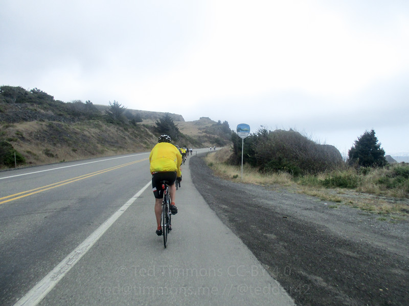 Rolling along a cliff on Highway 101. Really windy.