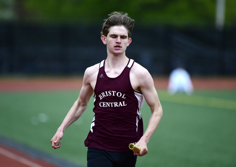 5/14/2019 Mike Orazzi   Staff Bristol Central's Davis Bowes in the 4x100 during Tuesday's city track meet at Eastern.