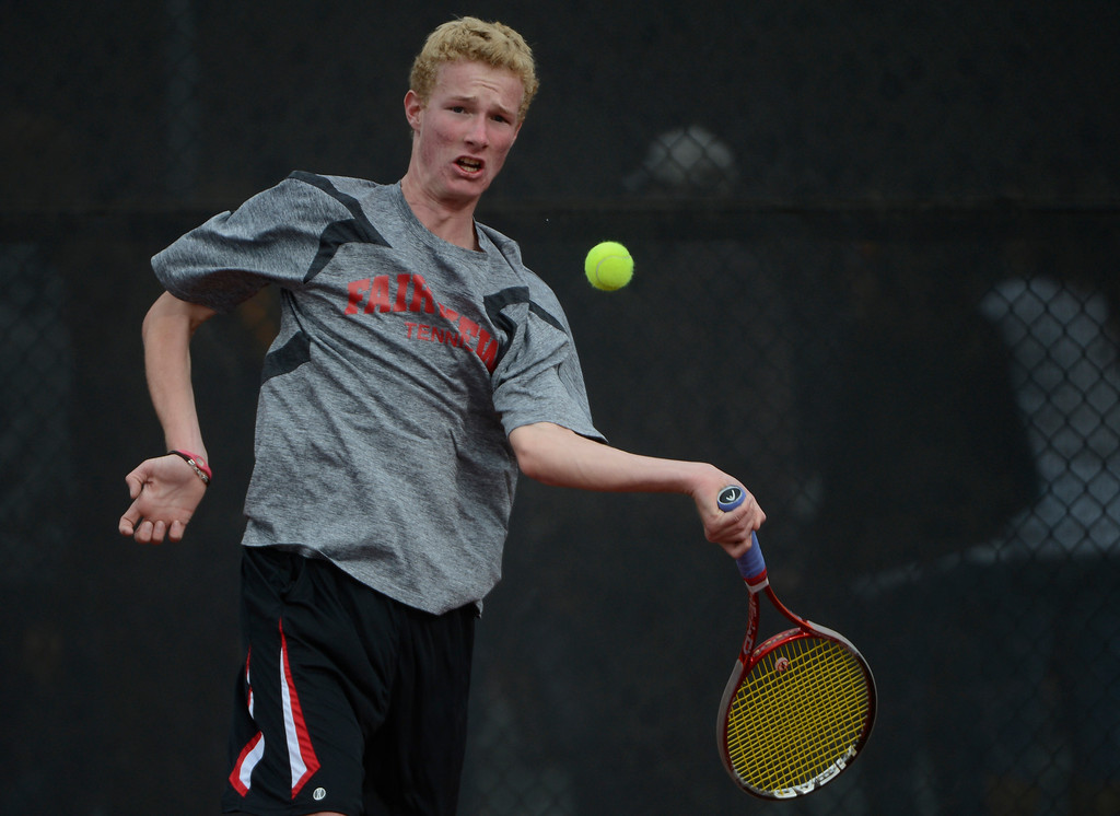. DENVER, CO - OCTOBER 11:   Thomas Mason, Fairview High School, plays against opponent, Derek Wright, Monarch High School, (not pictured) during his #3 semi-final match at the 2013 State 5A Tennis Championships at the Gates Tennis Center in Denver, Colorado Friday morning, October 11, 2013. Mason won the match. (Photo By Andy Cross/The Denver Post)
