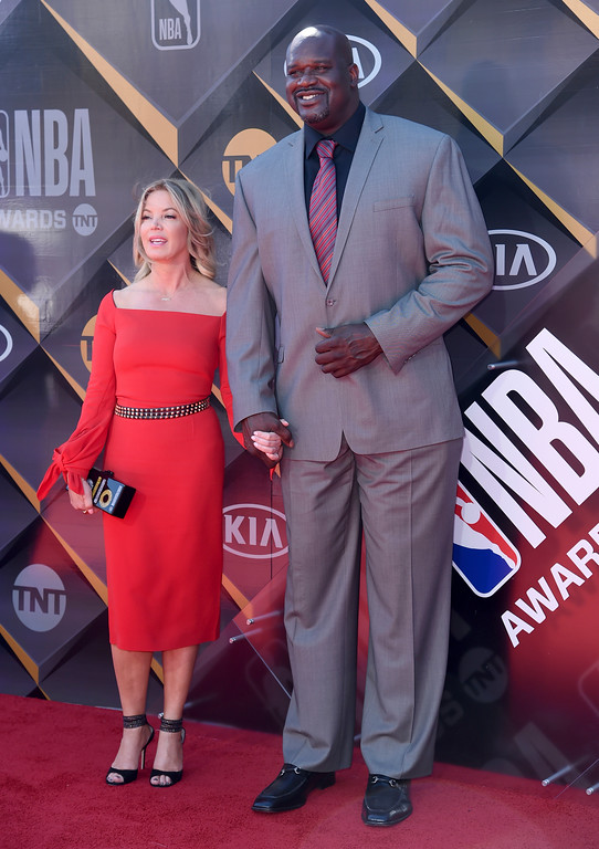 . Jeanie Buss, president of the Los Angeles Lakers, left, and Shaquille O\'Neal arrive at the NBA Awards on Monday, June 25, 2018, at the Barker Hangar in Santa Monica, Calif. (Photo by Richard Shotwell/Invision/AP)