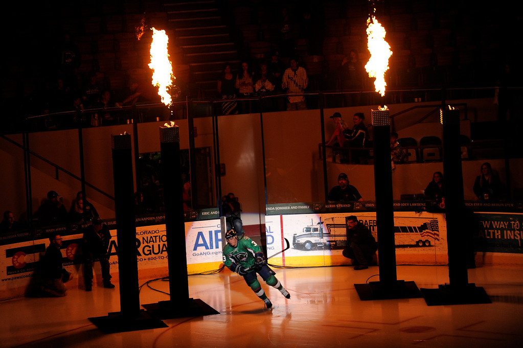 . DENVER, CO - MAY 2: Lee Moffie (3) of the Denver Cutthroats takes the ice during introductions before the first period of game 1 of the Ray Miron Presidents Cup Finals at the Denver Coliseum in Denver, Colorado on May 2, 2014. (Photo by Seth McConnell/The Denver Post)