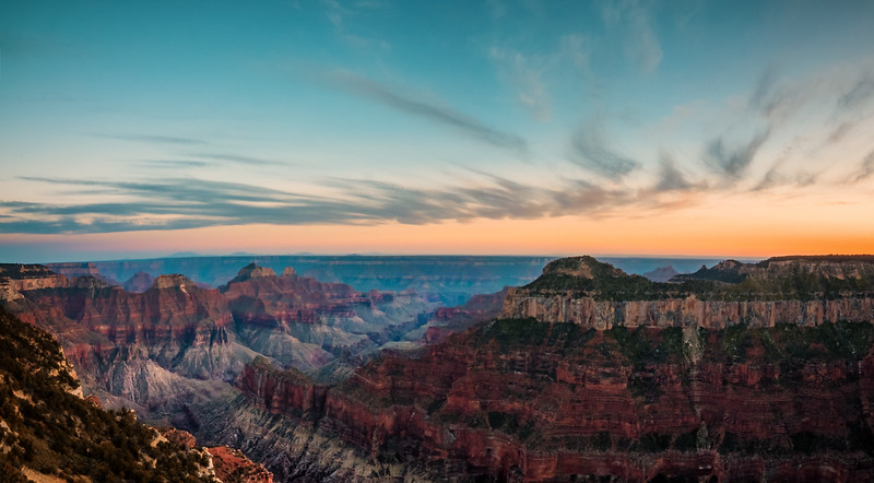 The sun sets over the Grand Canyon