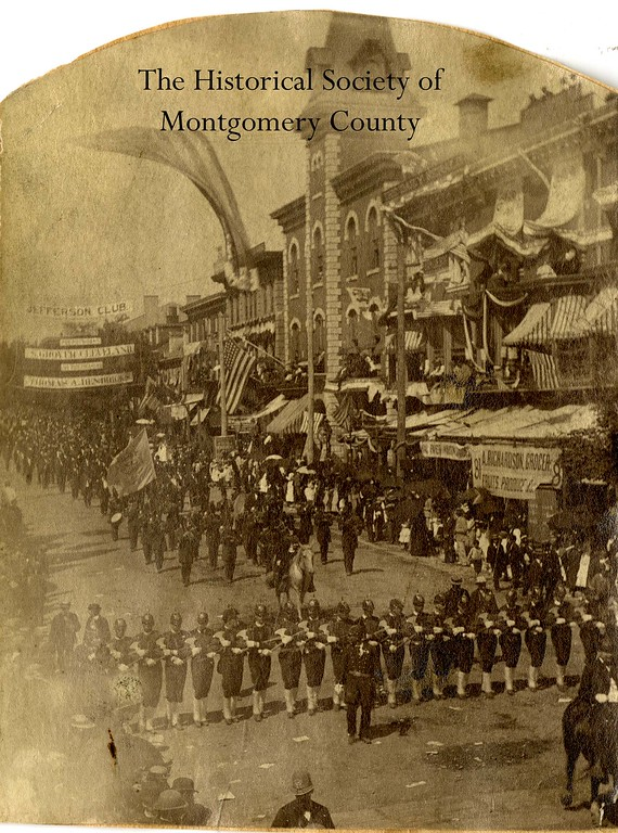 . This photo from the Historical Society of Montgomery County shows a parade in Norristown. The Historical Society believes the photo was taken in 1884 because of a sign in the background for Grover Cleveland and his running mate in 1884 Thomas A. Hendricks.