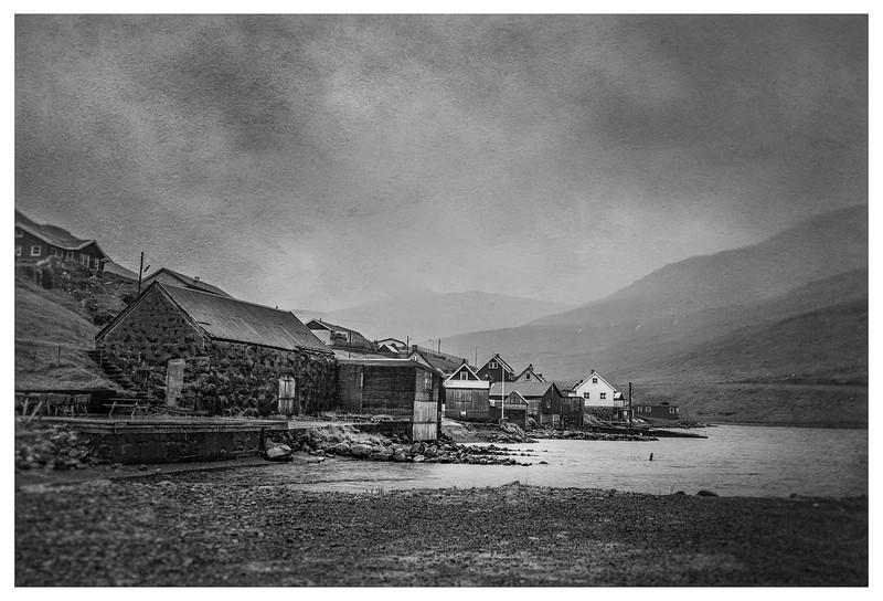 Faroe Fishing Village     Black and White Photography by Wayne Heim