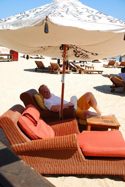 Sandy enjoying the beach at Fiesta Americana Hotel and Resort, Cabo San Lucas Mexico