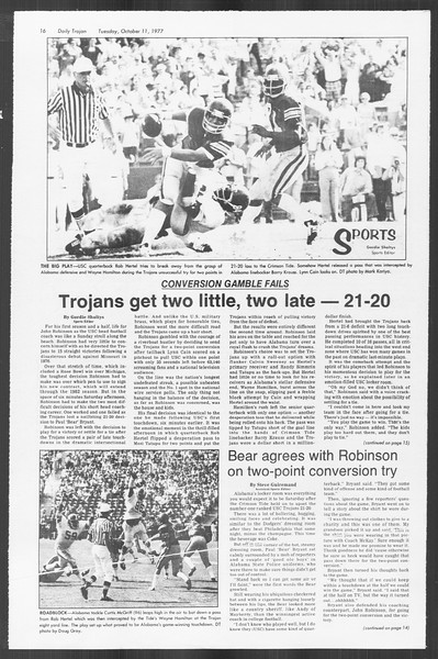 Daily Trojan, Vol. 72, No. 16, October 11, 1977