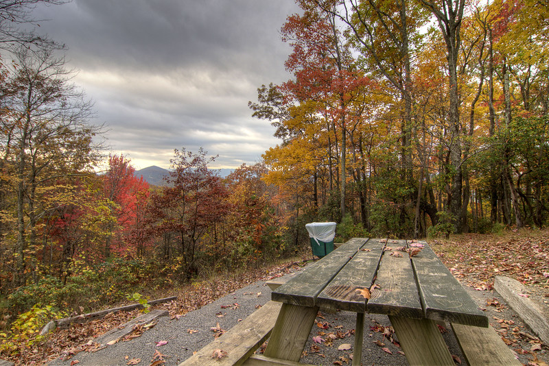 The view of the fall colors from a campsite at the Flag Rock Recreation Area in Norton, VA on Saturday, October 25, 2014. Copyright 2014 Jason Barnette