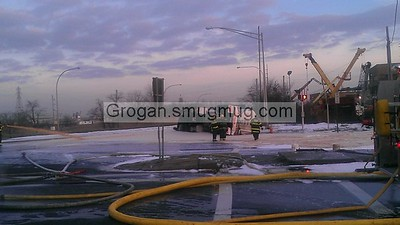 Route 878 and Burnside Ave Overturn Tanker 1/9/13