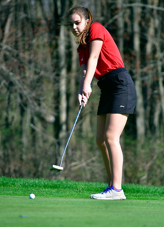 4/23/2019 Mike Orazzi | Staff St. Paul's Natalie Millerick at the Westwoods Golf Course on Tuesday.