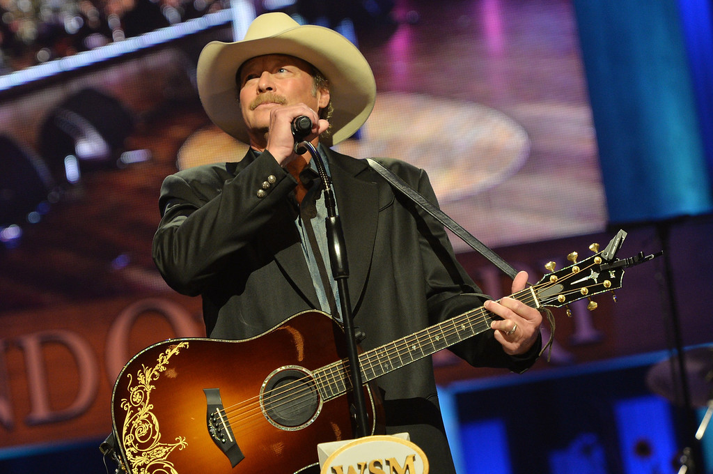 . Country musician Alan Jackson performs at the funeral service for George Jones at The Grand Ole Opry on May 2, 2013 in Nashville, Tennessee. (Photo by Rick Diamond/Getty Images for GJ Memorial)