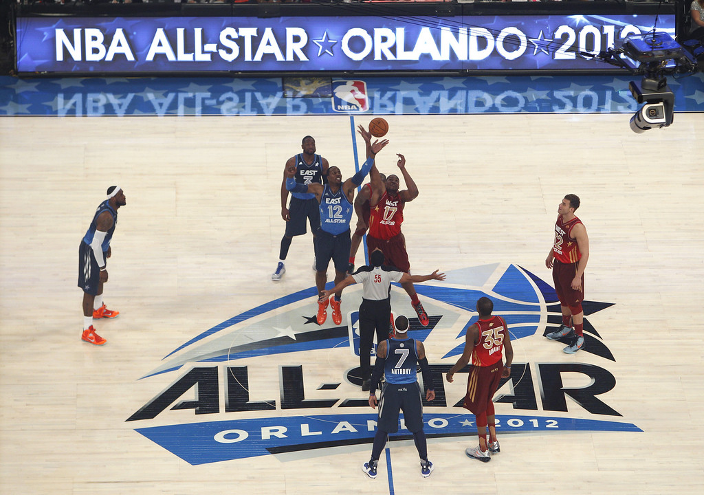 . Eastern Conference\'s Dwight Howard (12), of the Orlando Magic, and Western Conference\'s Andrew Bynum (17), of the Los Angeles Lakers, reach for the opening tip at the NBA All-Star basketball game, Sunday, Feb. 26, 2012, in Orlando, Fla. (AP Photo/Lynne Sladky)