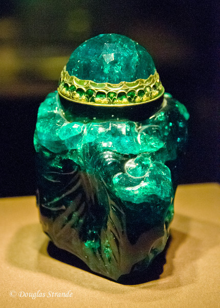 Emerald ointment vessel, carved from a 3000 carat crystal -- Imperial Treasury