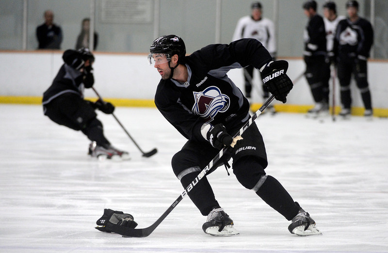 . Colorado Avalanche Ryan O\'Byrne (3) skates a drill during practice Wednesday, January 16, 2013 at Family Sports Center. John Leyba, The Denver Post