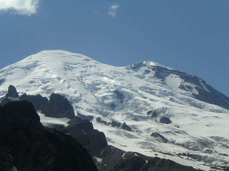 Emmons route up Mt. Rainier (you can see the bootpath if you look closely on the right side of the mountain).
