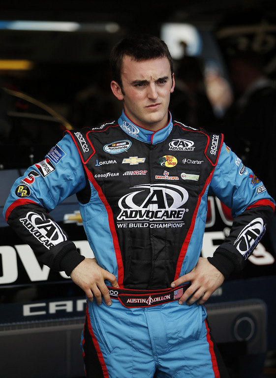 . Austin Dillon, driver of the #3 AdvoCare Chevrolet, stands in the garage during practice for the NASCAR Nationwide Series DRIVE4COPD 300 at Daytona International Speedway on February 21, 2013 in Daytona Beach, Florida.  (Photo by Chris Graythen/Getty Images)