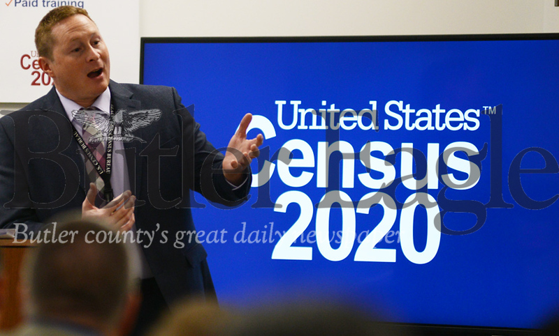 photo by Caleb HarshbergerSupervisory partnership specialist Steven Shope, pictured here discussing the importance and history of the U.S. census at Friday's opening of census' Cranberry office.