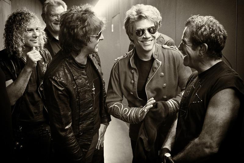 . July 14, 2011 - Bon Jovi gathers up backstage before their show at the Letzigrund Stadium in Zurich, CH on July 14, 2011. Pictured is (from l-r) keyboardist David Bryan, manager Paul Korzilius, guitarist Richie Sambora, lead singer Jon Bon Jovi, and drummer Tico Torres.  (Photo credit: David Bergman / Bon Jovi)