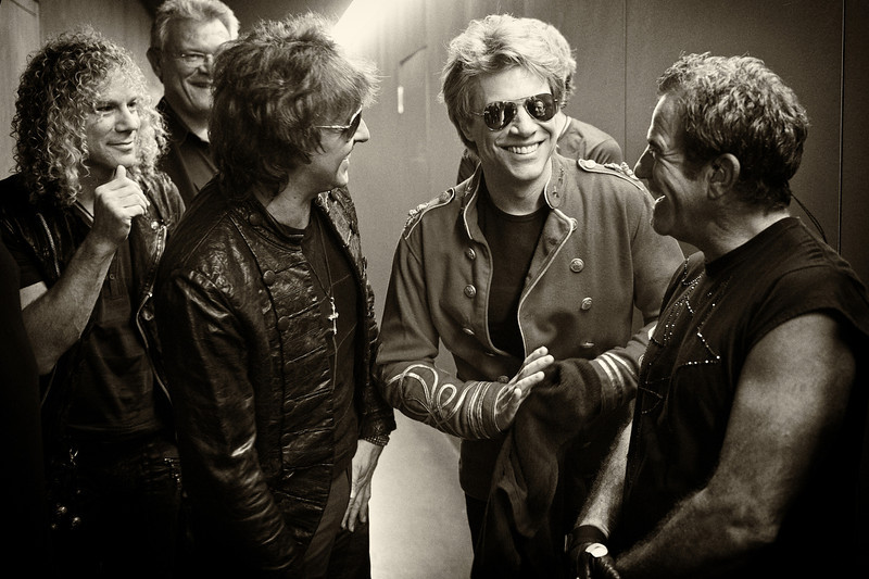 . July 14, 2011 - Bon Jovi gathers up backstage before their show at the Letzigrund Stadium in Zurich, CH on July 14, 2011. Pictured is (from l-r) keyboardist David Bryan, manager Paul Korzilius, guitarist Richie Sambora, lead singer Jon Bon Jovi, and drummer Tico Torres.  (Photo credit: David Bergman / Bon Jovi)