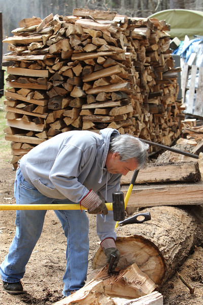 Chopping firewood in Bedford 042520