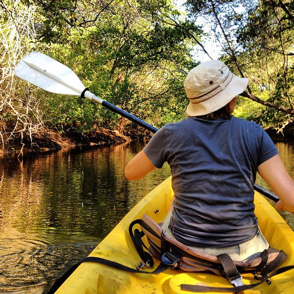 Audrey carves up the mangroves, early AM kayak #Nicaragua #morgansock