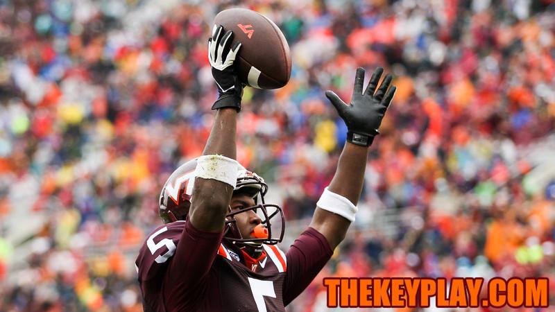 Virginia Tech WR Cam Phillips celebrates his touchdown catch. (Mark Umansky/TheKeyPlay.com)