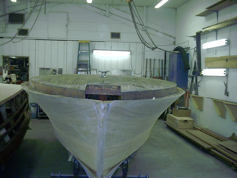 Front view of boat right side up.