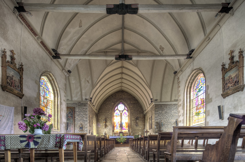 Interior of Saint-Guigner church, town of Pluvigner, departement of Morbihan, Brittany, France