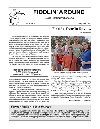 2002 Florida Tour Newsletter